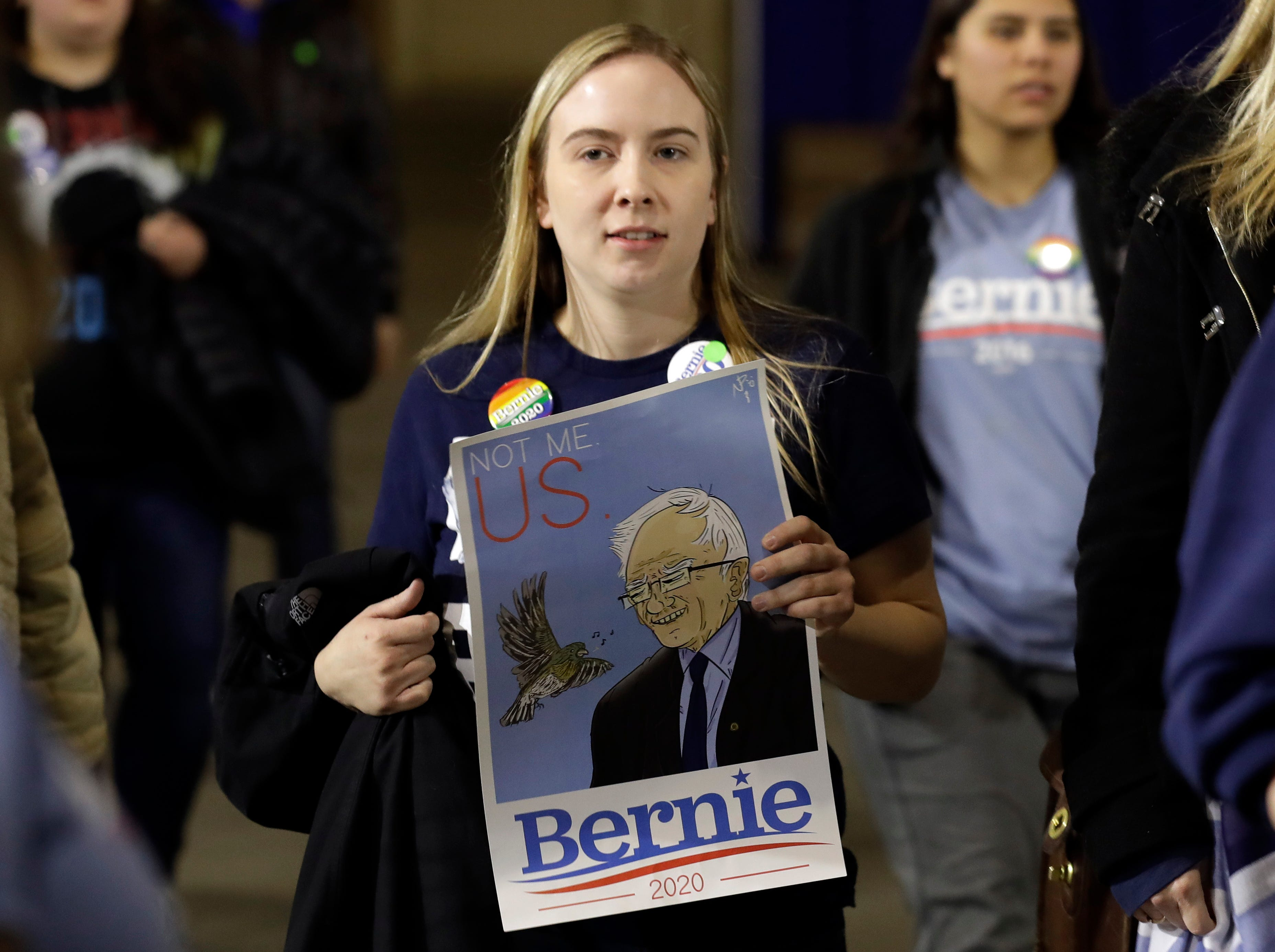 Supporters arrive for Sen. Bernie Sanders 2020 presidential campaign event at Navy Pier in Chicago, Sunday, March 3, 2019. Over the next several weeks, Sanders will travel to Iowa, New Hampshire, South Carolina, Nevada, and California. He will then return to Burlington, Vermont, for the official launch of his campaign.