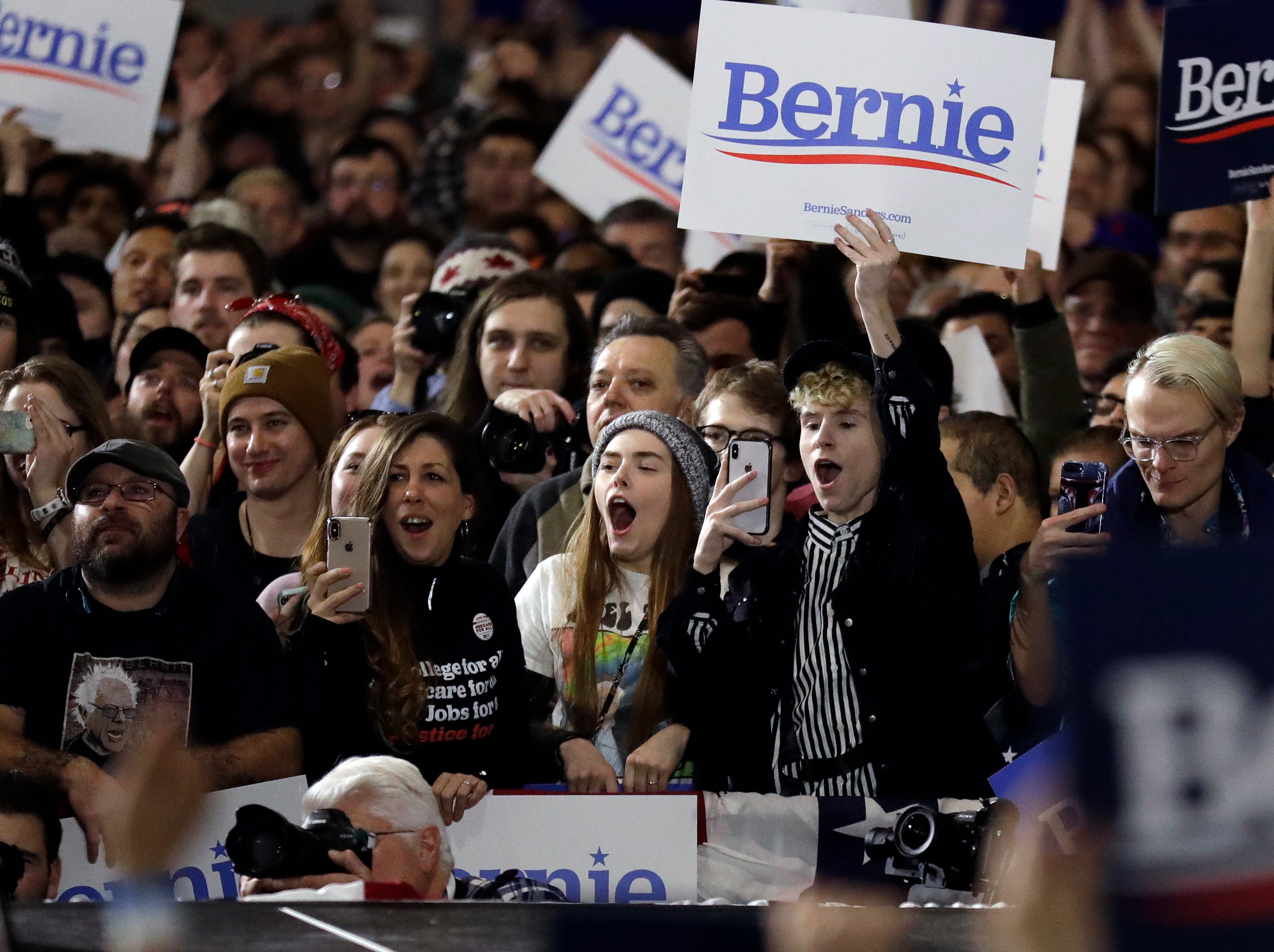 Supporters react as they listen to Sen. Bernie Sanders, I-Vt., during his 2020 presidential campaign at Navy Pier in Chicago, Sunday, March 3, 2019. Over the next several weeks, Sanders will travel to Iowa, New Hampshire, South Carolina, Nevada, and California. He will then return to Burlington, Vt., for the official launch of his campaign.