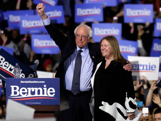 Sen. Bernie Sanders, I-Vt., left, and his wife, Jane O'Meara Sanders, greet supporters as they leave after his 2020 presidential campaign stop at Navy Pier in Chicago, Sunday, March 3, 2019. Over the next several weeks, Sanders will travel to Iowa, New Hampshire, South Carolina, Nevada, and California. He will then return to Burlington, Vt., for the official launch of his campaign.