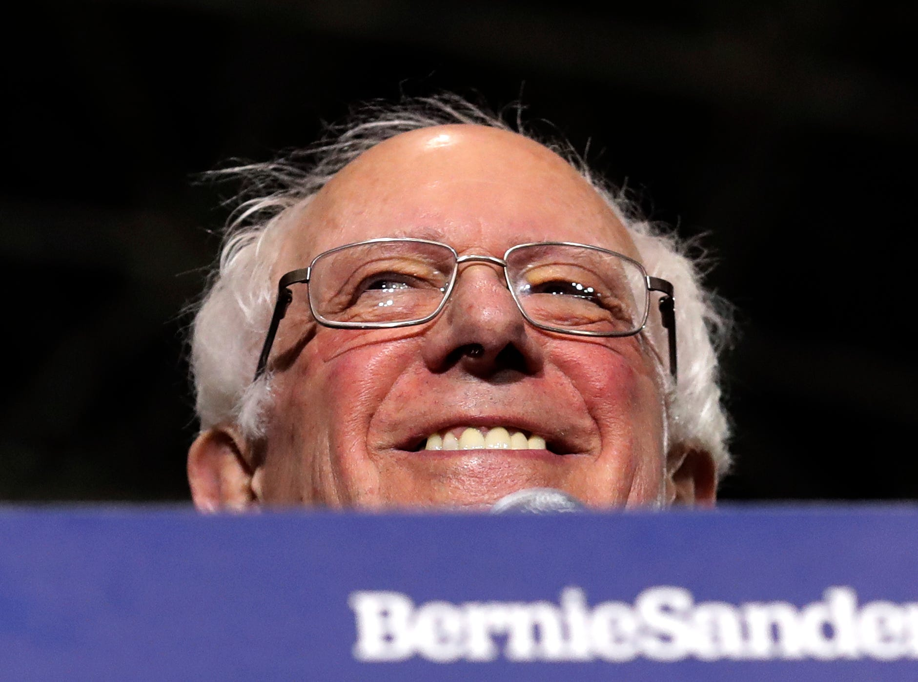 Sen. Bernie Sanders, I-Vt., smiles as he kicks off his 2020 presidential campaign at Navy Pier in Chicago, Sunday, March 3, 2019. Over the next several weeks, Sanders will travel to Iowa, New Hampshire, South Carolina, Nevada, and California. He will then return to Burlington, Vt., for the official launch of his campaign.