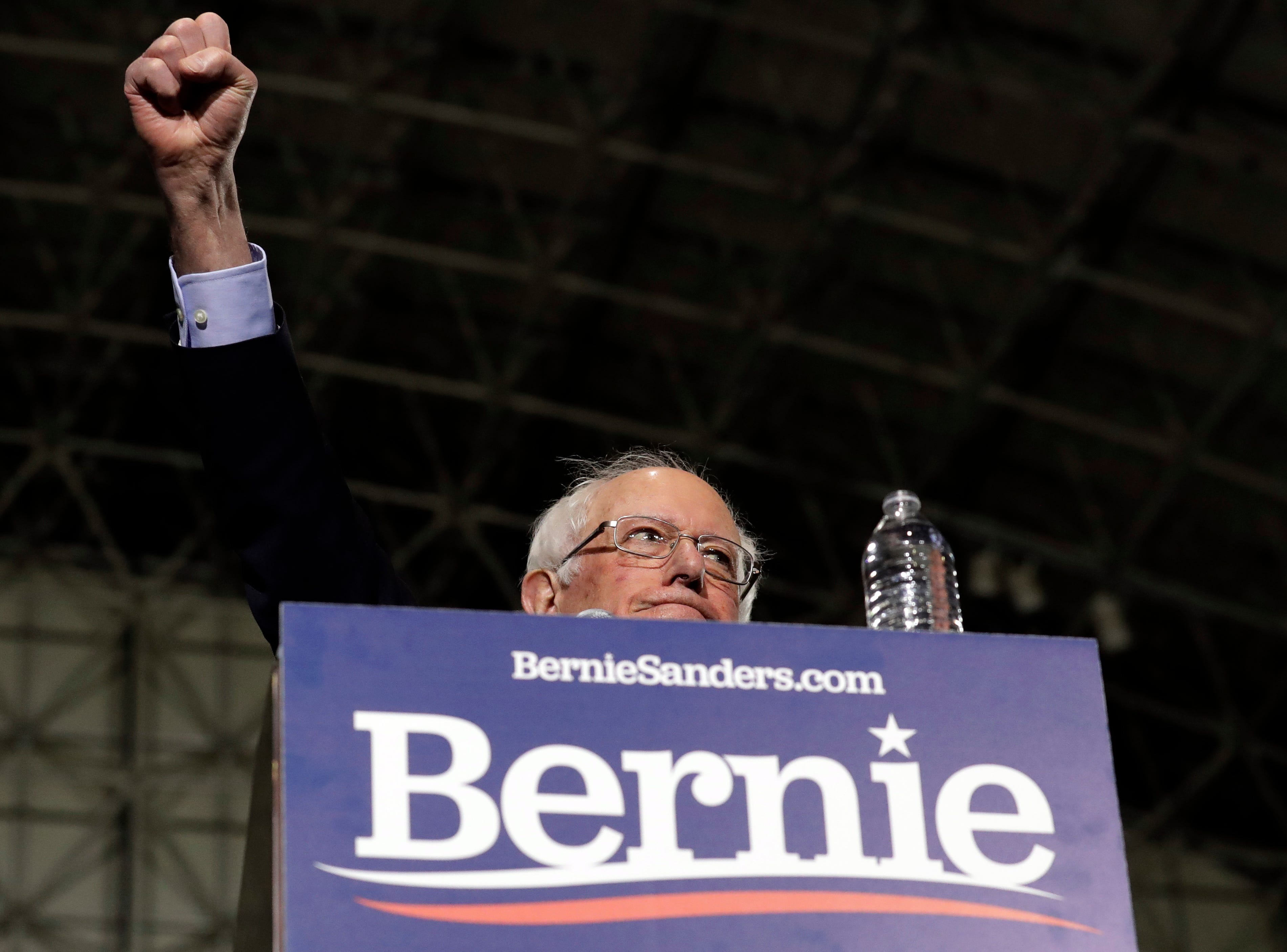 Sen. Bernie Sanders, I-Vt., arrives to the stage as he kicks off his 2020 presidential campaign at Navy Pier in Chicago, Sunday, March 3, 2019. Over the next several weeks, Sanders will travel to Iowa, New Hampshire, South Carolina, Nevada, and California. He will then return to Burlington, Vermont, for the official launch of his campaign.
