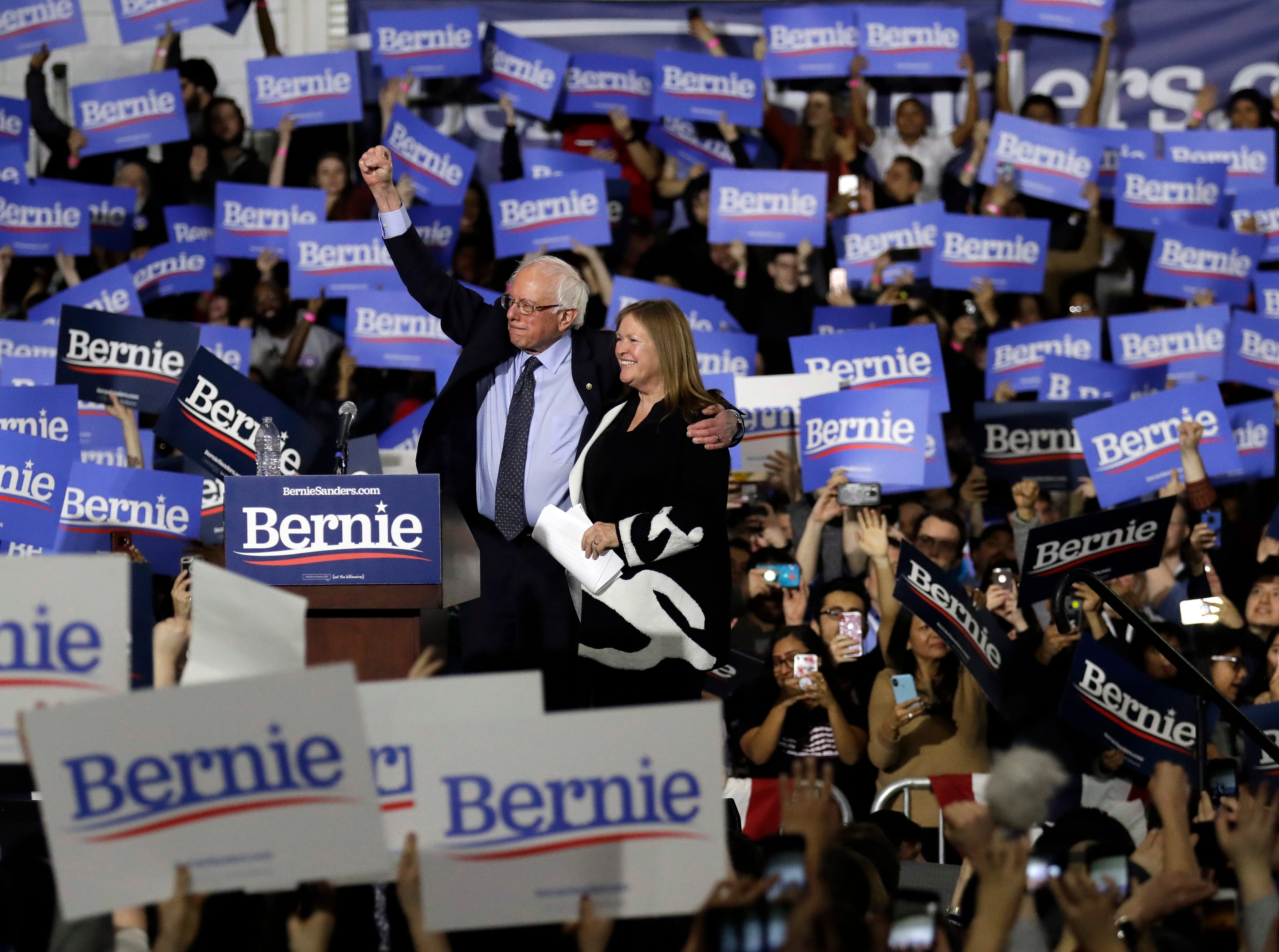 Sen. Bernie Sanders, I-Vt., left, and his wife, Jane O'Meara Sanders, acknowledge supporters before leaving his 2020 presidential campaign stop at Navy Pier in Chicago, Sunday, March 3, 2019. Over the next several weeks, Sanders will travel to Iowa, New Hampshire, South Carolina, Nevada, and California. He will then return to Burlington, Vt., for the official launch of his campaign.