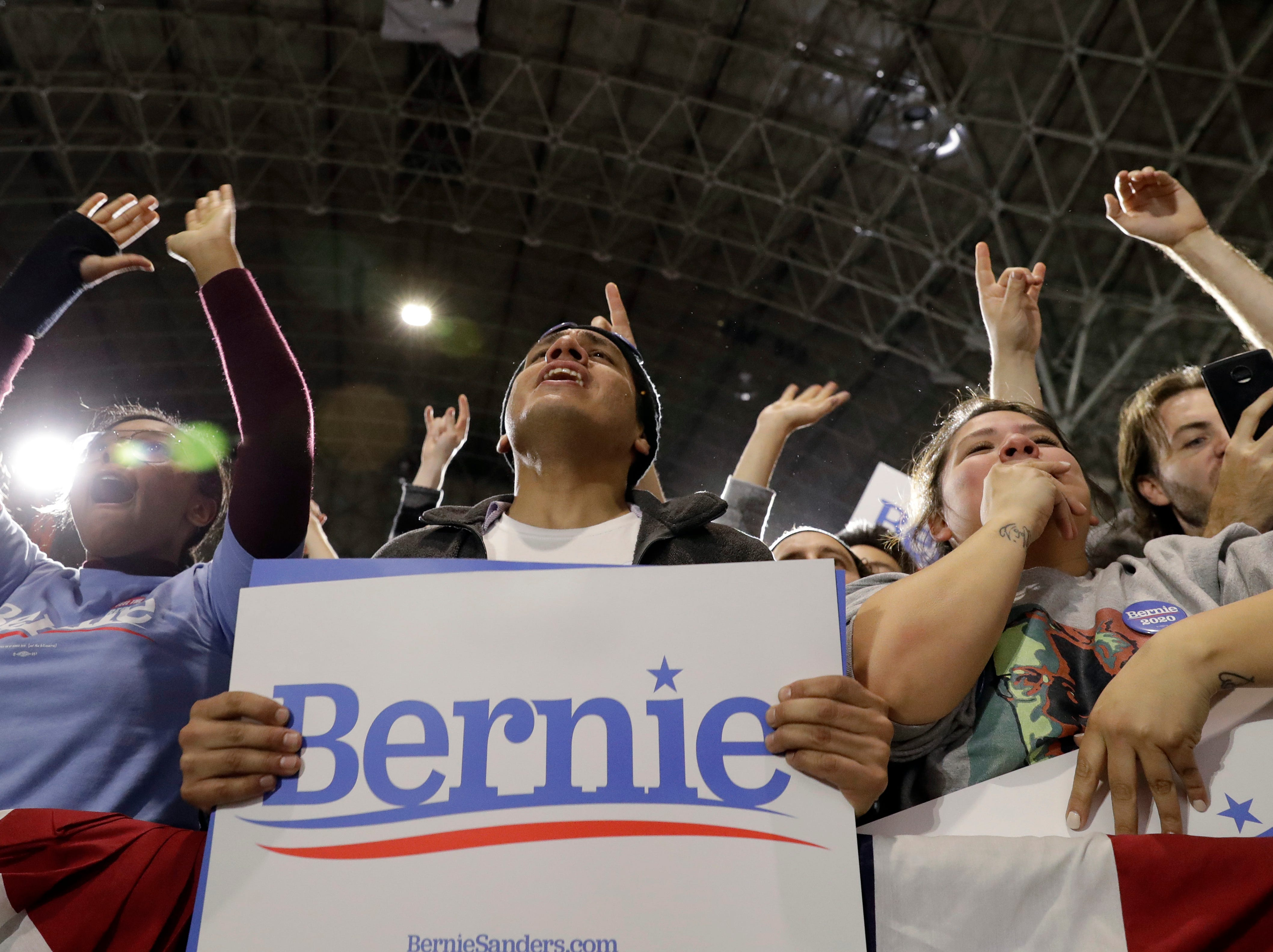 Supporters react as they listen to Sen. Bernie Sanders, I-Vt., where he kicks off his 2020 presidential campaign at Navy Pier in Chicago, Sunday, March 3, 2019. Over the next several weeks, Sanders will travel to Iowa, New Hampshire, South Carolina, Nevada, and California. He will then return to Burlington, Vt., for the official launch of his campaign.