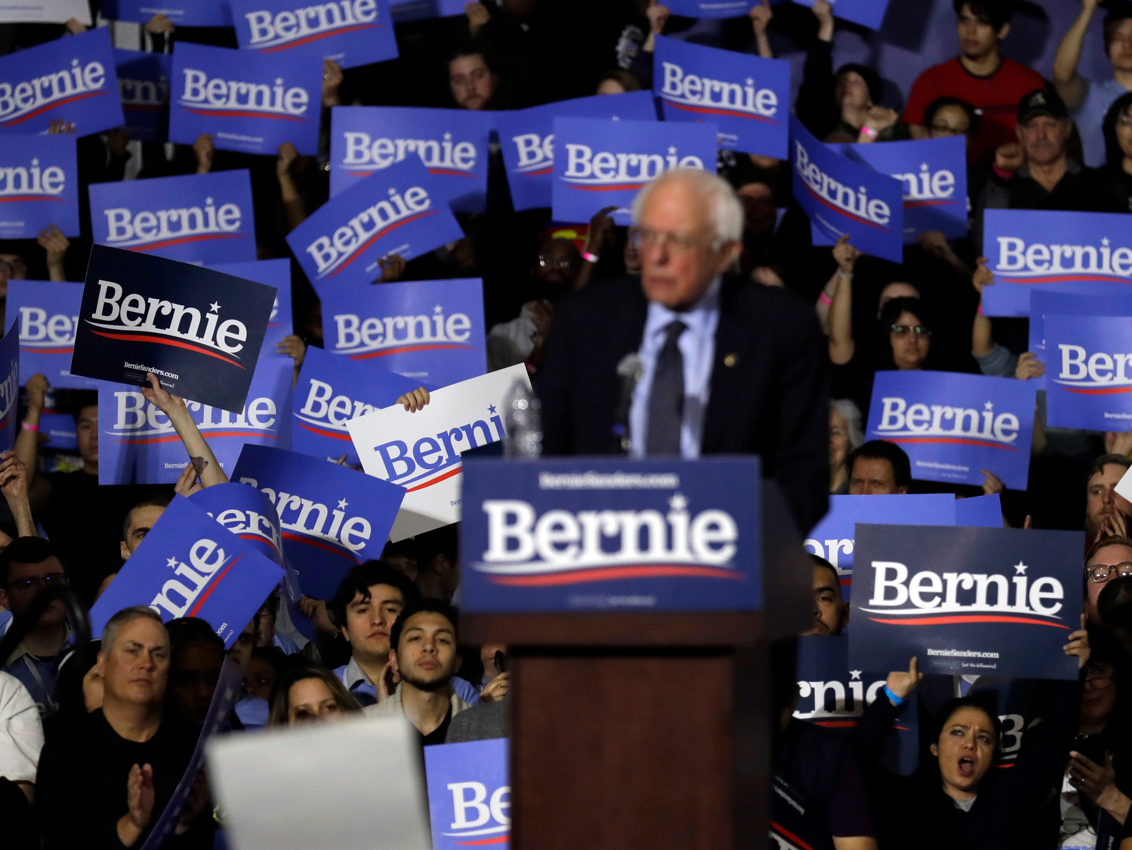 Supporters react as they listen to Sen. Bernie Sanders, I-Vt., during his 2020 presidential campaign stop at Navy Pier in Chicago, Sunday, March 3, 2019. Over the next several weeks, Sanders will travel to Iowa, New Hampshire, South Carolina, Nevada, and California. He will then return to Burlington, Vermont, for the official launch of his campaign.