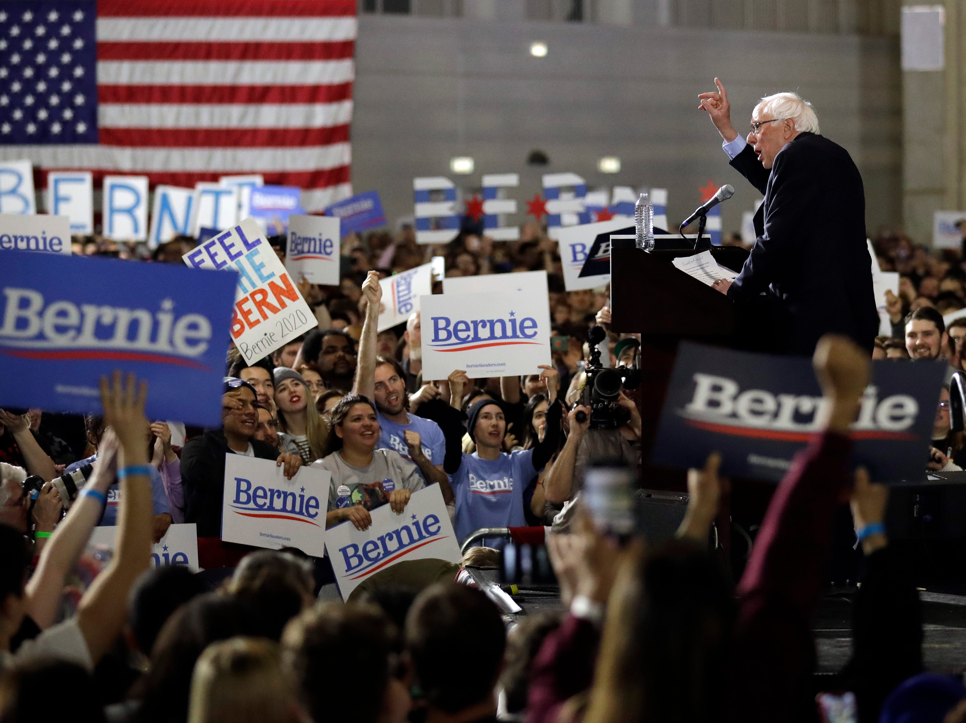 Sen. Bernie Sanders, I-Vt., speaks as he holds his 2020 presidential campaign at Navy Pier in Chicago, Sunday, March 3, 2019. Over the next several weeks, Sanders will travel to Iowa, New Hampshire, South Carolina, Nevada, and California. He will then return to Burlington, Vt., for the official launch of his campaign.