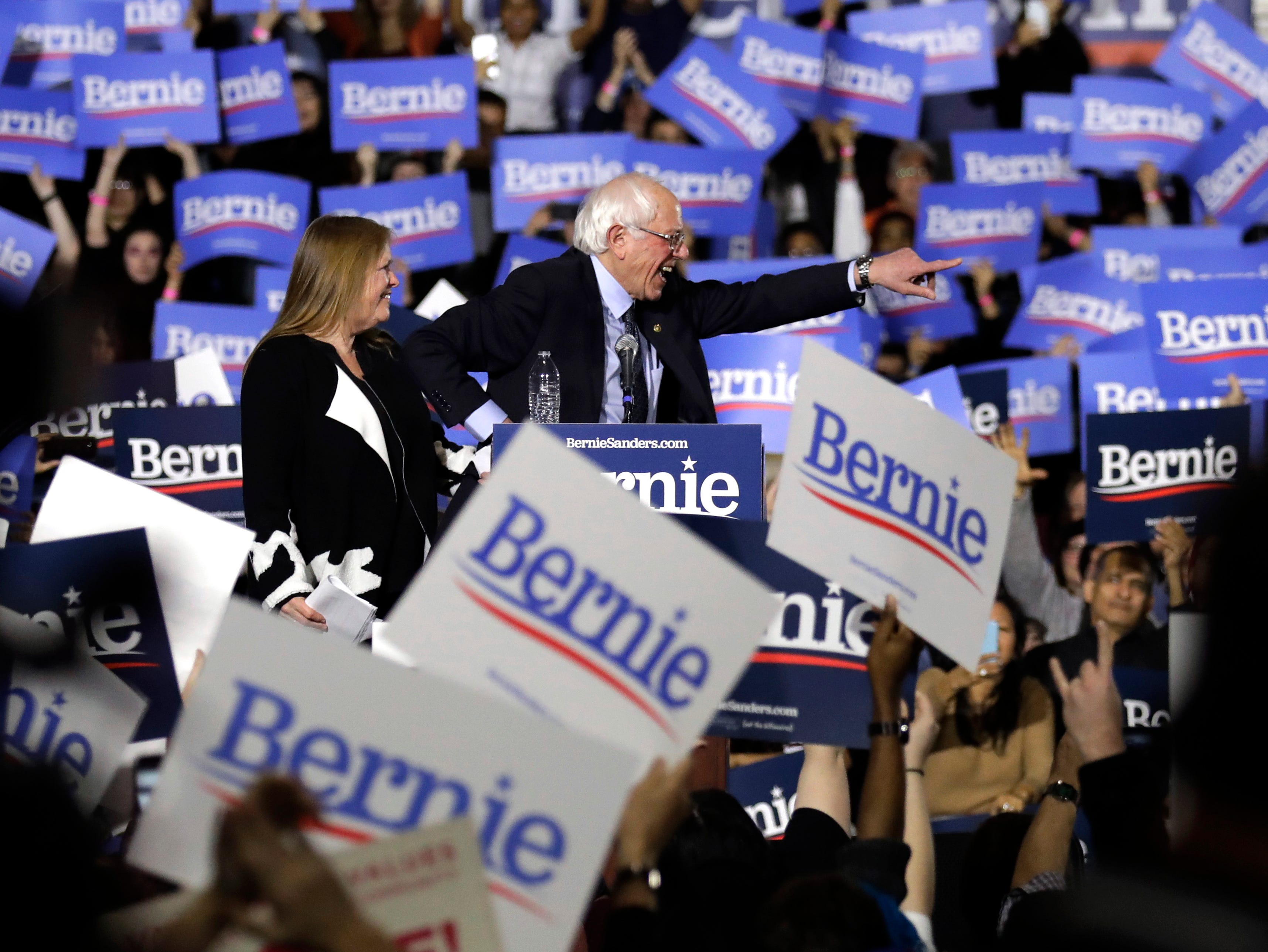 Sen. Bernie Sanders, I-Vt., right, and his wife Jane O'Meara Sanders, greet as they leave after he held his 2020 presidential campaign at Navy Pier in Chicago, Sunday, March 3, 2019. Over the next several weeks, Sanders will travel to Iowa, New Hampshire, South Carolina, Nevada, and California. He will then return to Burlington, Vt., for the official launch of his campaign.