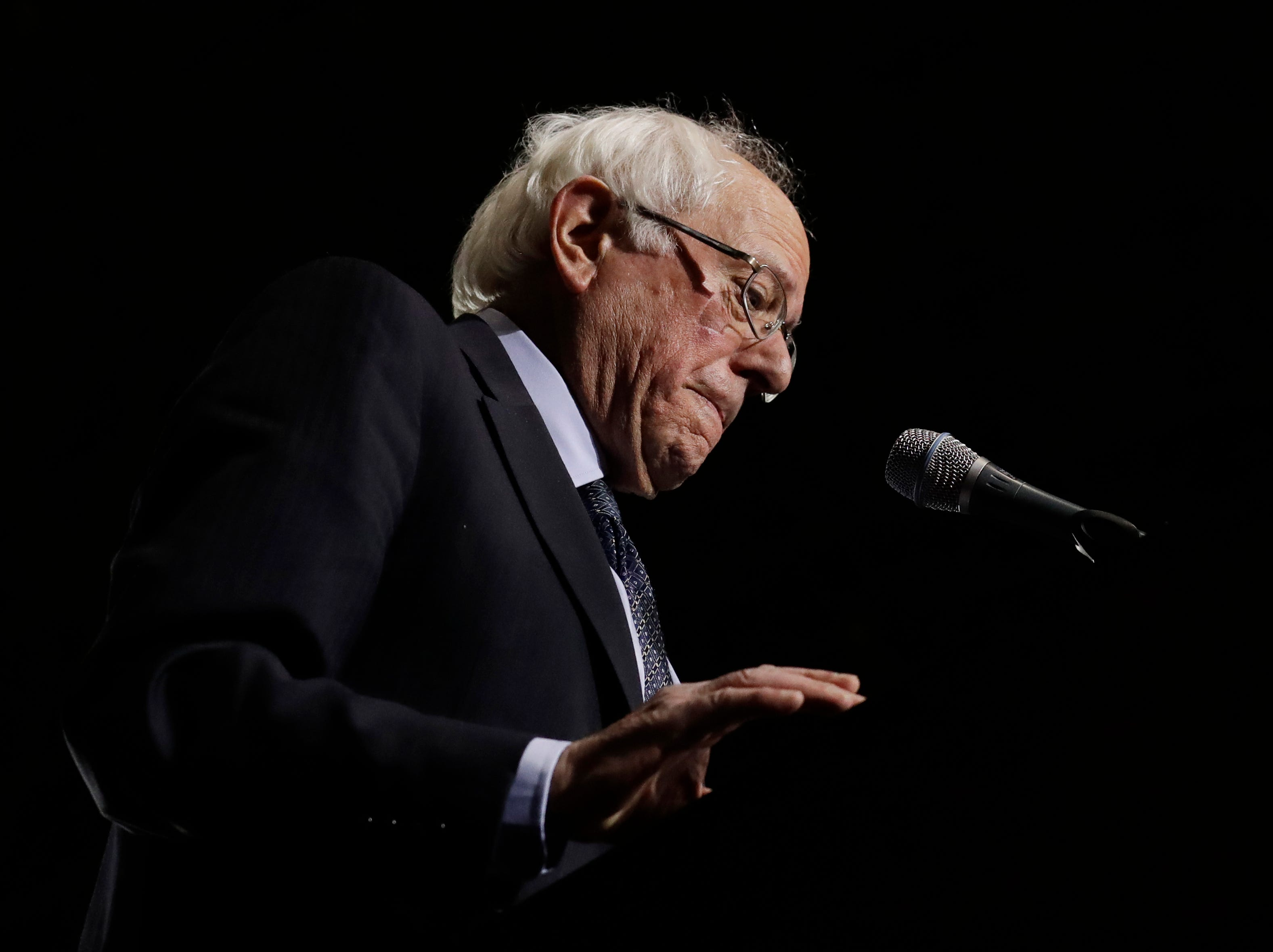 Sen. Bernie Sanders, I-Vt., speaks as he kicks off his 2020 presidential campaign at Navy Pier in Chicago, Sunday, March 3, 2019. Over the next several weeks, Sanders will travel to Iowa, New Hampshire, South Carolina, Nevada, and California. He will then return to Burlington, Vermont, for the official launch of his campaign.