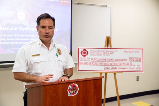 Corpus Christi Deputy Fire Chief Richie Quintero speaks during a press conference announcing the departments 2019 fill the boot campaign on Monday, March 4, 2019.