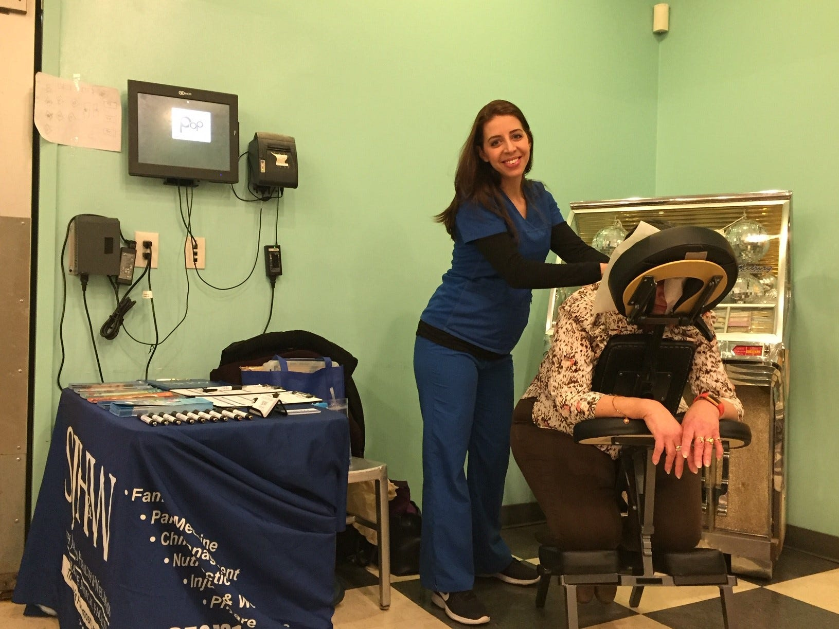 Guests were treated to a massage chair experience at the Galentine's Celebration, courtesy of South Jersey Health & Wellness.