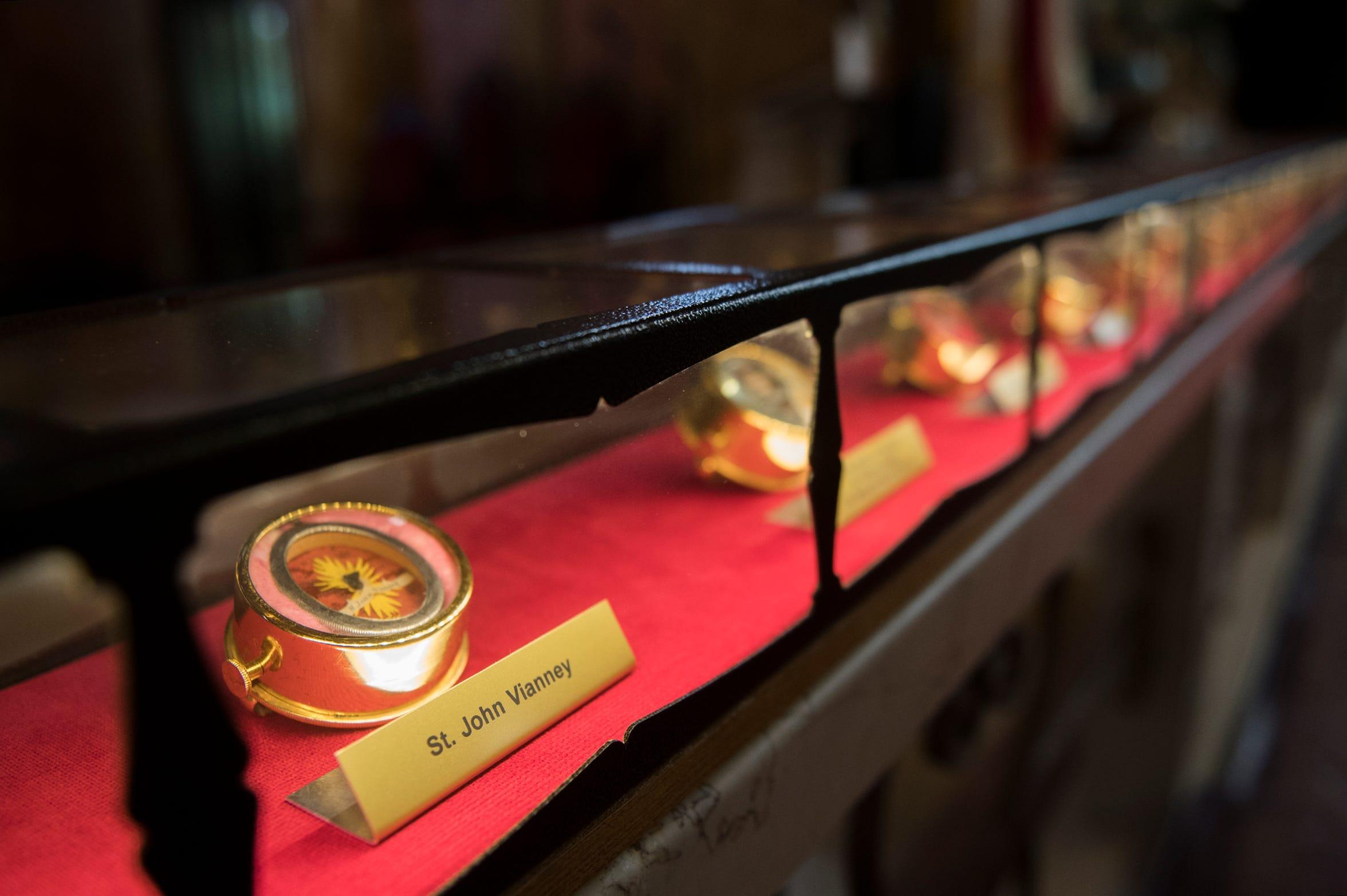 Dozens of relics on display inside St. Joseph Roman Catholic Church Thursday, Feb. 28, 2019 in Camden, N.J.