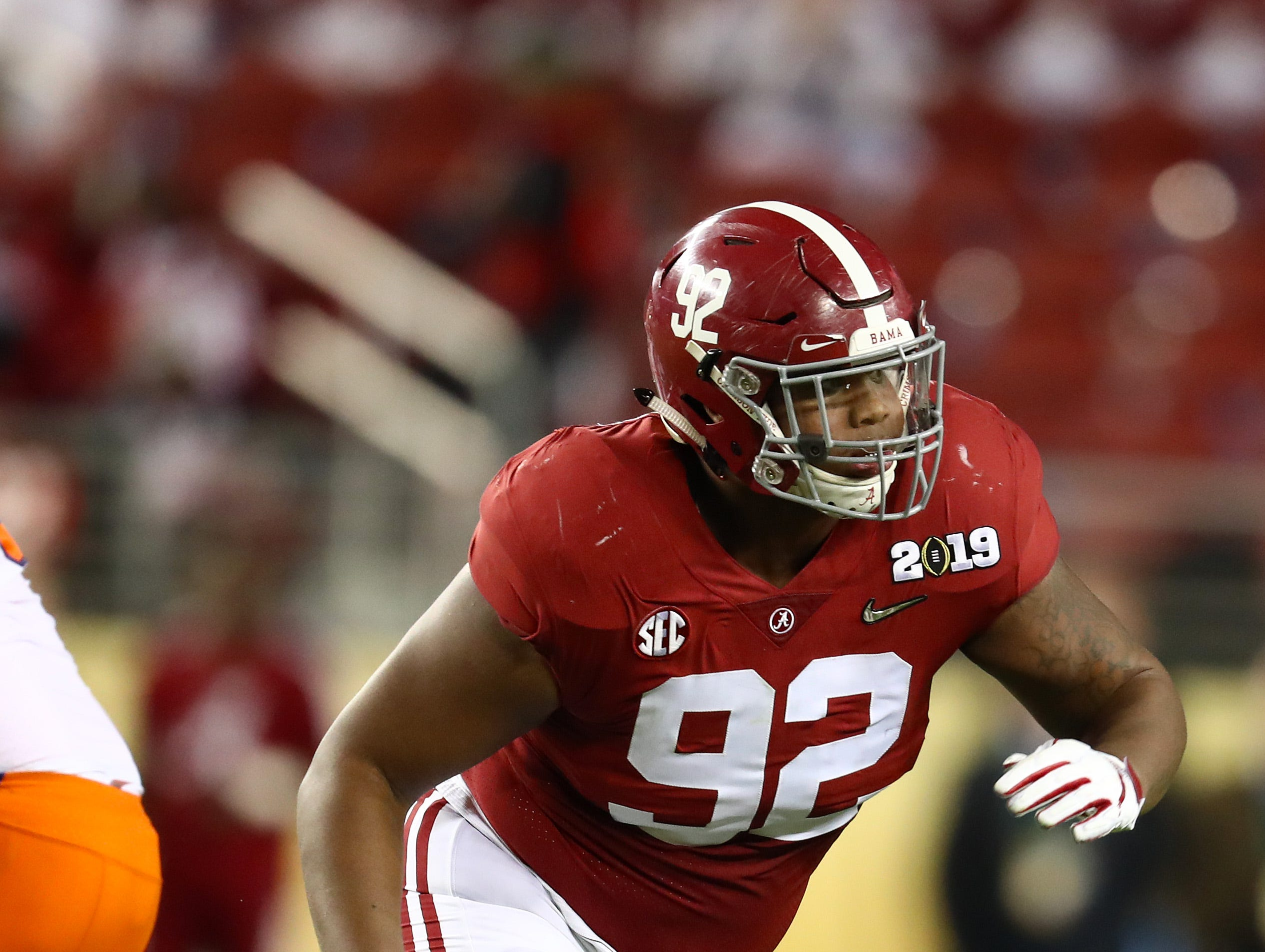 Alabama Crimson Tide defensive tackle Quinnen Williams (92) in action against the Clemson Tigers during the 2019 College Football Playoff Championship game at Levi's Stadium.