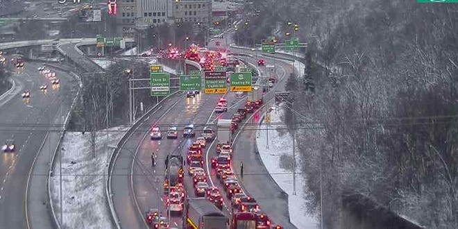 Southbound I-71 is shut down at Reading Road approaching downtown due to a multi-vehicle accident.