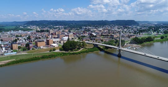 A view of Portsmouth, Ohio, via The Enquirer's drone. Portsmouth sits at the intersection of the Ohio River and the Scioto River. The US Grant Bridge goes between downtown Portsmouth and Greenup, Kentucky.