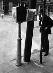 The first outdoor pay phone was installed on Fifth Street between Walnut and Main in 1905.