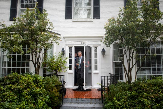 Sen. Sherrod Brown leaves the home of Don and Carol Fowler in Columbia, S.C. Friday, March 1, 2019.
