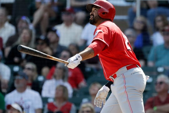 Cincinnati Reds' Matt Kemp watches his home run against the Arizona Diamondbacks during the fourth inning of a spring baseball game in Scottsdale, Ariz., Monday, March 4, 2019.