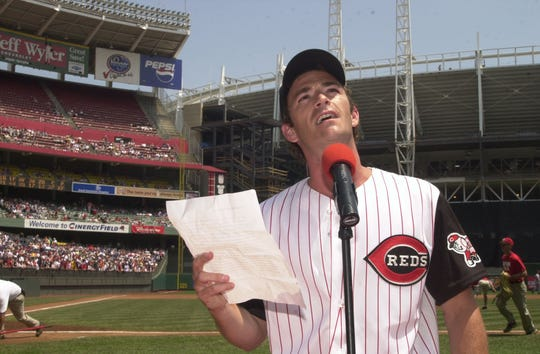 Actor Luke Perry reads Lou Gehrig's historical farewell speech Saturday, June 1, 2002 prior to the Atlanta Braves/Cincinnati Reds' game at Cinergy Field in Cincinnati as part of Project A.L.S. Day.