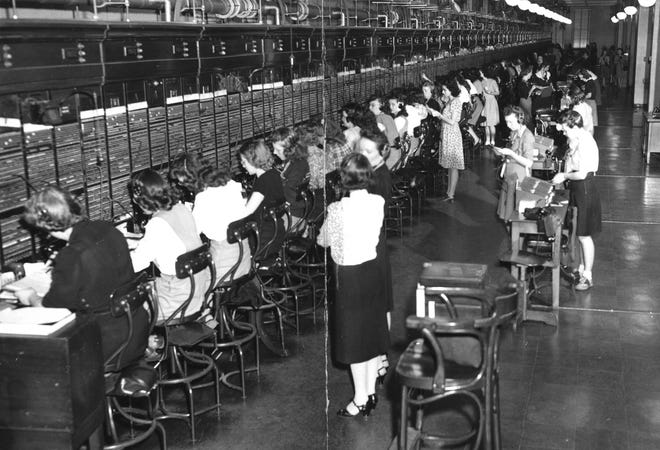 Cincinnati Bell switchboard in 1947 was  the world's largest straight switchboard with stations for 88 telephone operators.