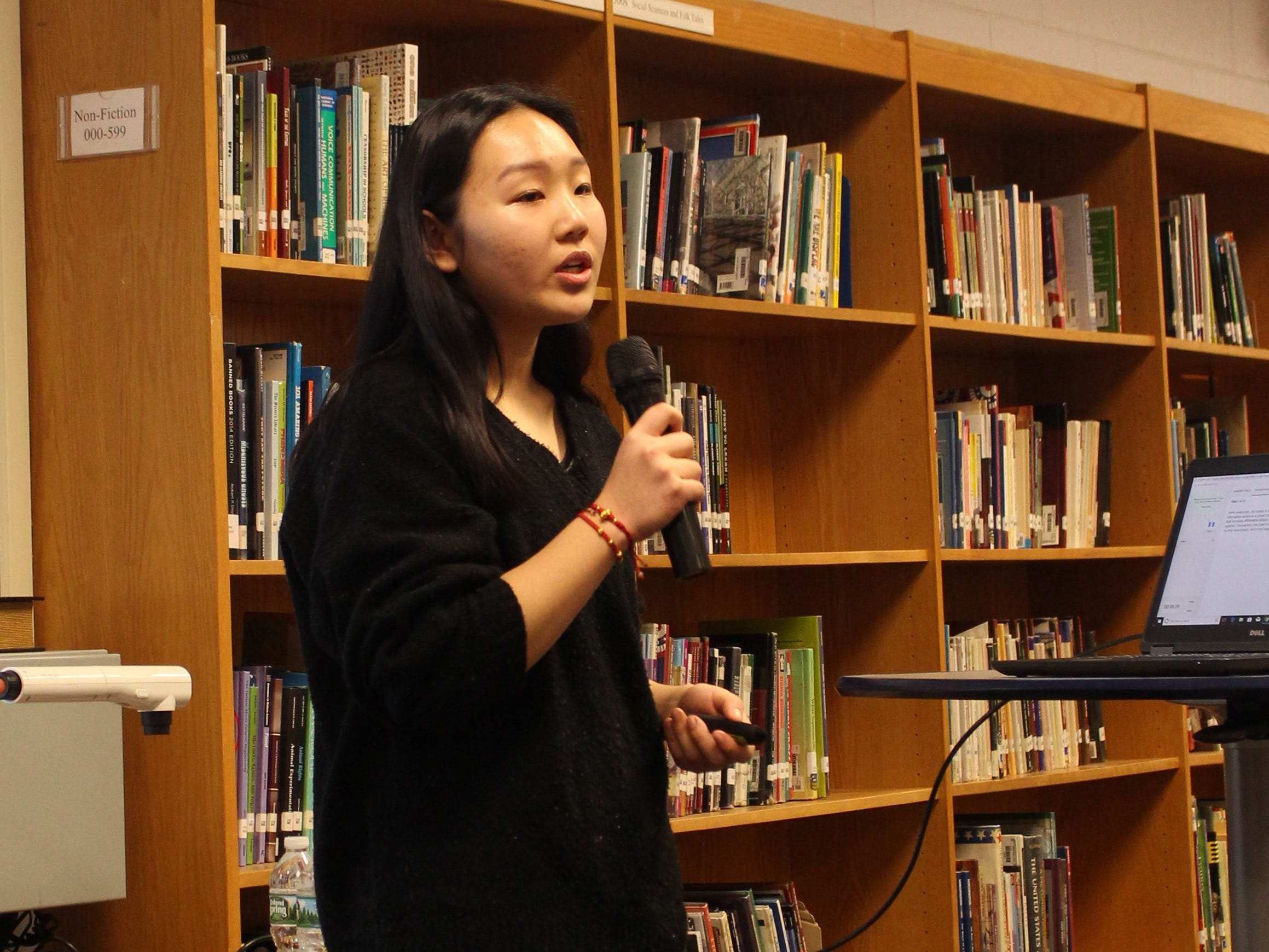 WMS student Angela Zhang delivers her TED-Ed presentation on Affirmative Action.