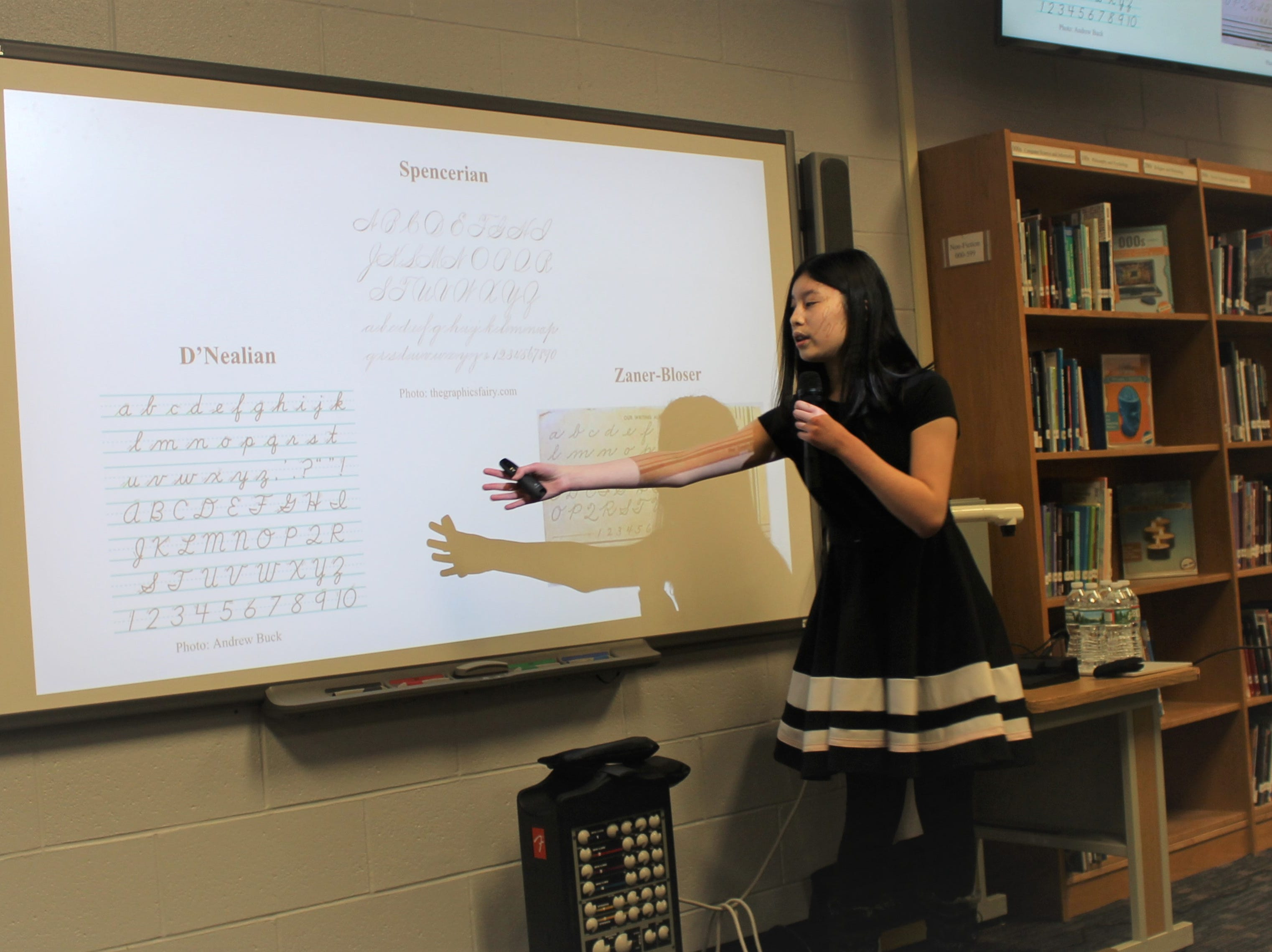WMS student Emma Leung delivers her TED-Ed presentation on the dying art of cursive writing.