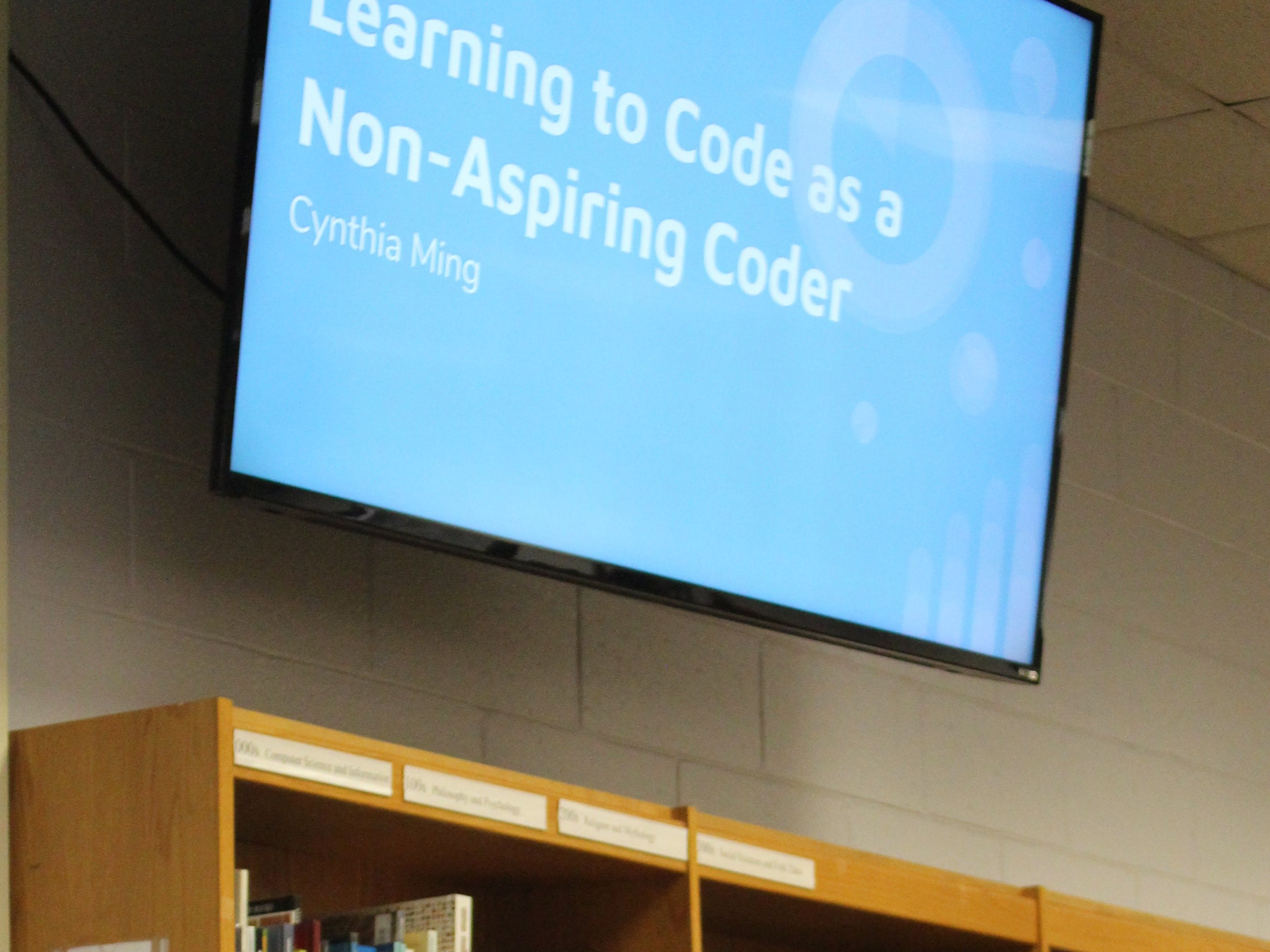 WMS student Cynthia Ming delivers her presentation on Learning to Code as a non-aspiring coder.