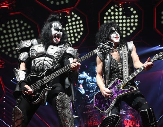 Gene Simmons and Paul Stanley of Kiss perform during their End Of The Road World Tour at the Forum on Feb. 16, 2019, in Inglewood, Calif.