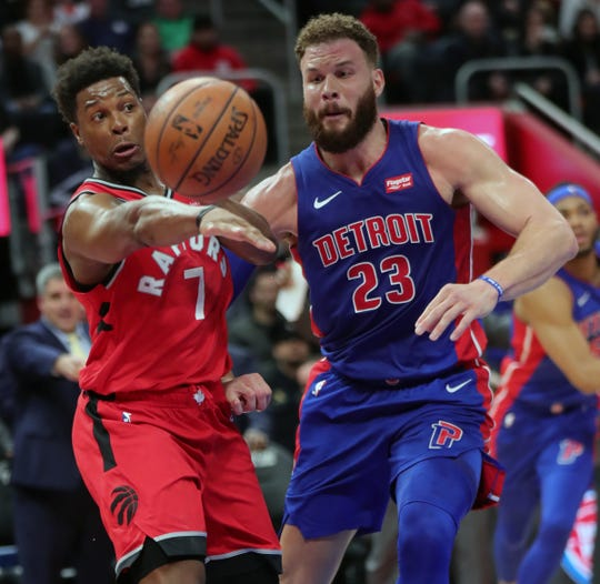 Detroit Pistons forward Blake Griffin defends Toronto Raptors guard Kyle Lowry during the third quarter Sunday, March 3, 2019 at Little Caesars Arena.