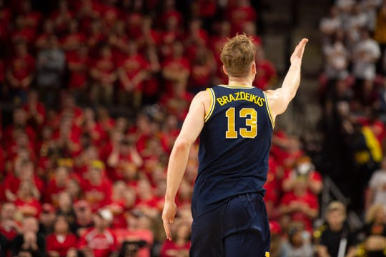 Michigan forward Ignas Brazdeikis reacts after scoring during the second half against Maryland on Sunday, March 3, 2019 in College Park, Md.