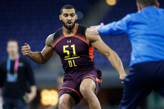 Defensive lineman Montez Sweat of Mississippi State works out during the NFL combine at Lucas Oil Stadium on March 3, 2019 in Indianapolis.
