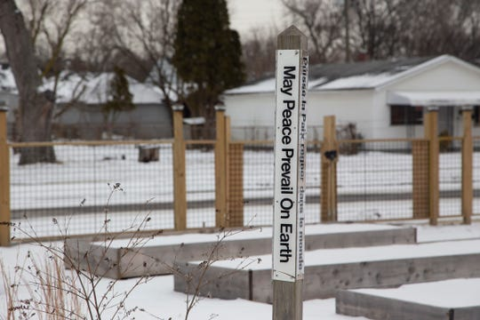 Through the Detroit Land Bank Authority Joe and Barbara Matney have built a community garden, photographed Thursday, Feb. 28, 2019, on land that used to be occupied by blighted.