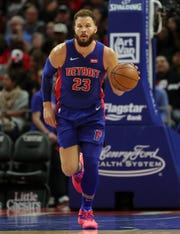 Detroit Pistons forward Blake Griffin brings the ball up court against the Toronto Raptors during the third quarter Sunday, March 3, 2019 at Little Caesars Arena.