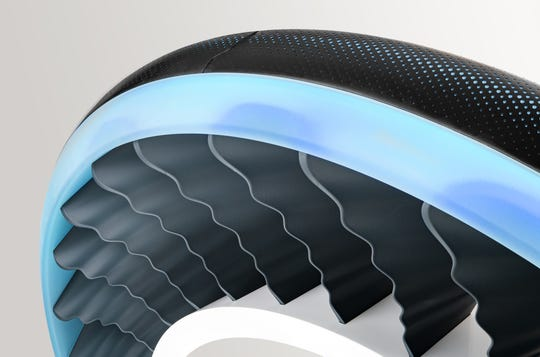 Goodyear AERO concept tire is a two-in-one tire for driving on the road and a propeller for flying.