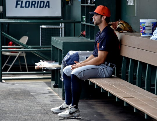 Detroit Tigers pitcher Daniel Norris in the dugout before a spring training game Feb. 25, 2019 in Jupiter, Fla.