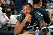 Cornerback Justin Layne, here at MSU's Media Day last August, plans to show off his speed at the NFL Combine on Monday.