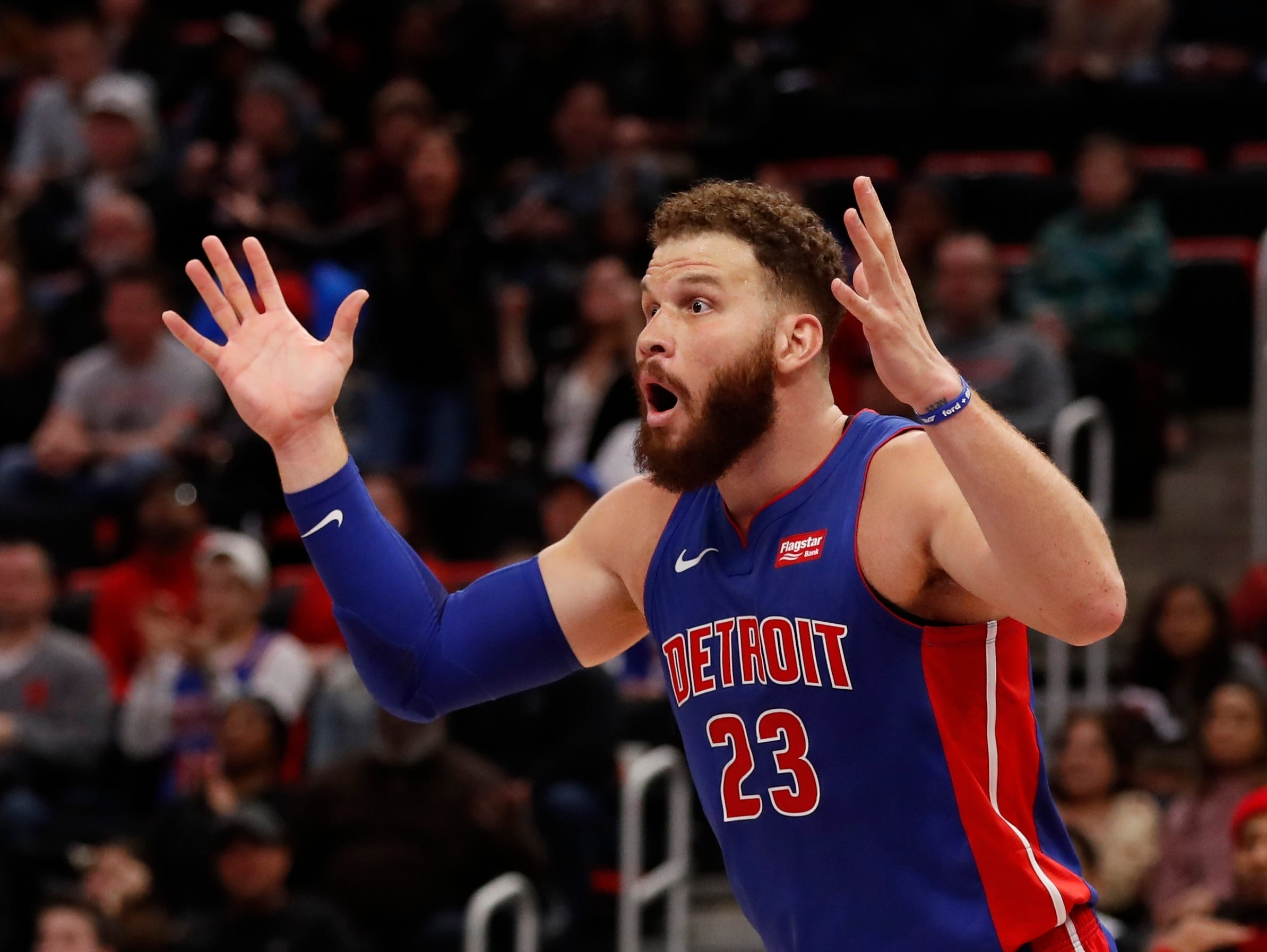 Detroit Pistons forward Blake Griffin reacts after a call during the second half.