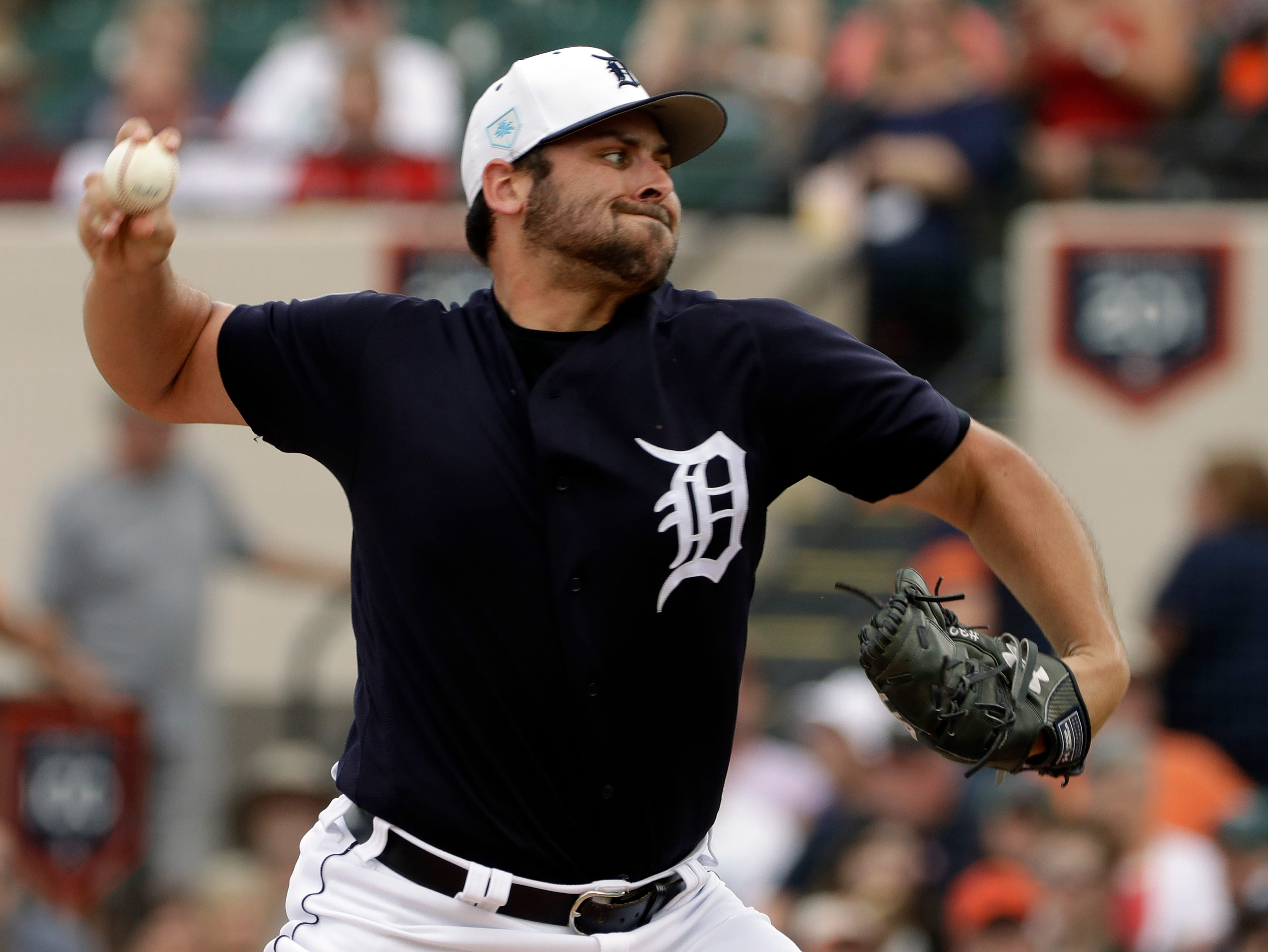 Detroit Tigers starting pitcher Michael Fulmer delivers to the St. Louis Cardinals during the first inning of a 9-5 Grapefruit League victory Monday, March 4, 2019, in St. Petersburg, Fla.