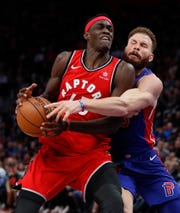 Forward Blake Griffin demonstrates some of the robust defense that's come with a shift in attitude as the Pistons have won nine of their last 11.