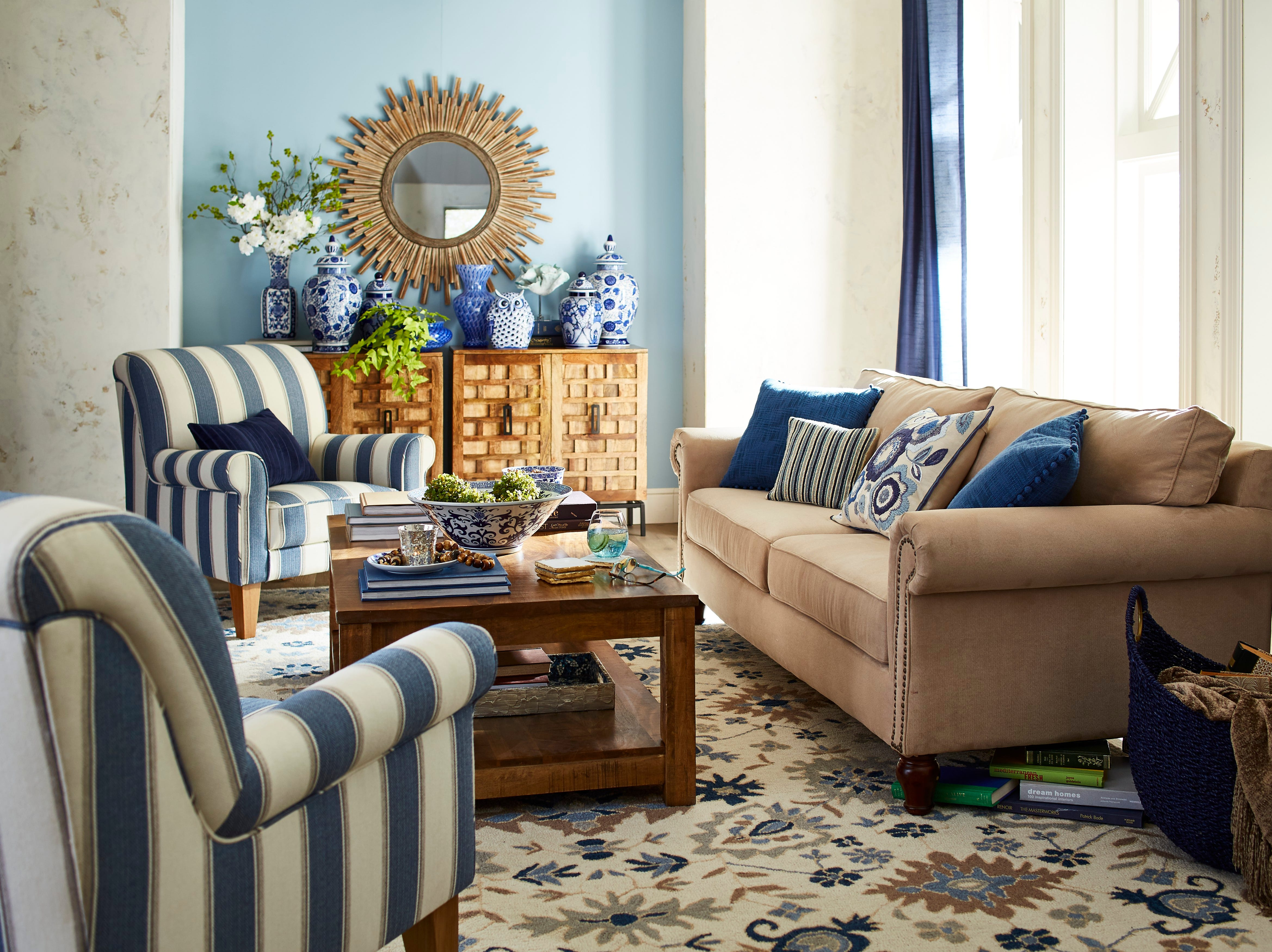 Blue and white collectibles like these ginger jars from Pier 1 Imports provide something that's pleasing to the eye after the sun goes down in a room with a view.