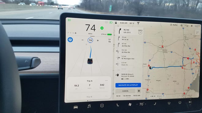 Despite 302 miles of range when Henry Payne left home in Oakland County, Michigan's cold weather would degrade the battery so that the Tesla Model 3 would only have 48 percent of range left when it arrived in Marshall, Michigan, 114 miles away (228 mile round trip).