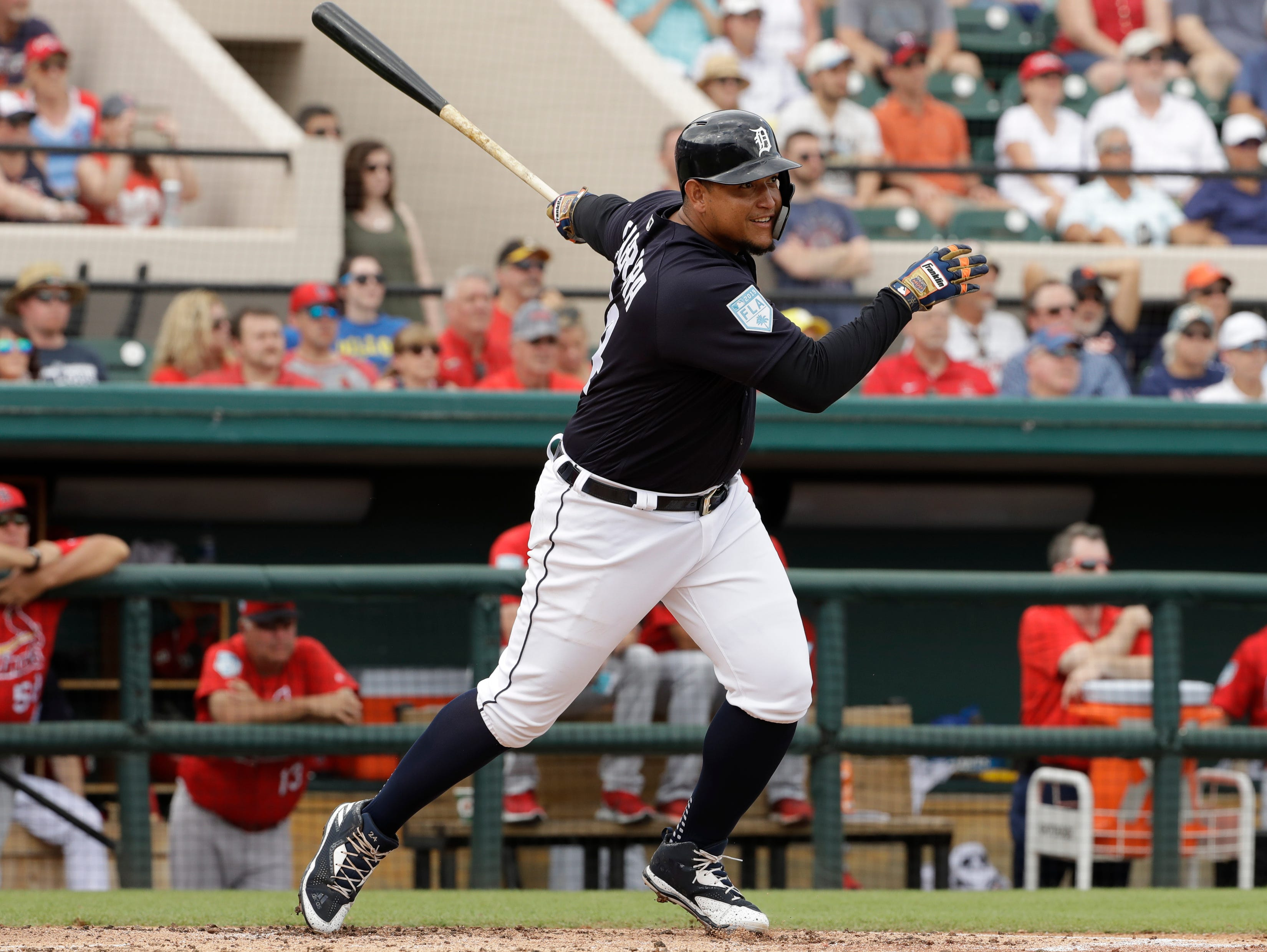 Detroit Tigers' Miguel Cabrera bats against the St. Louis Cardinals during the third inning.