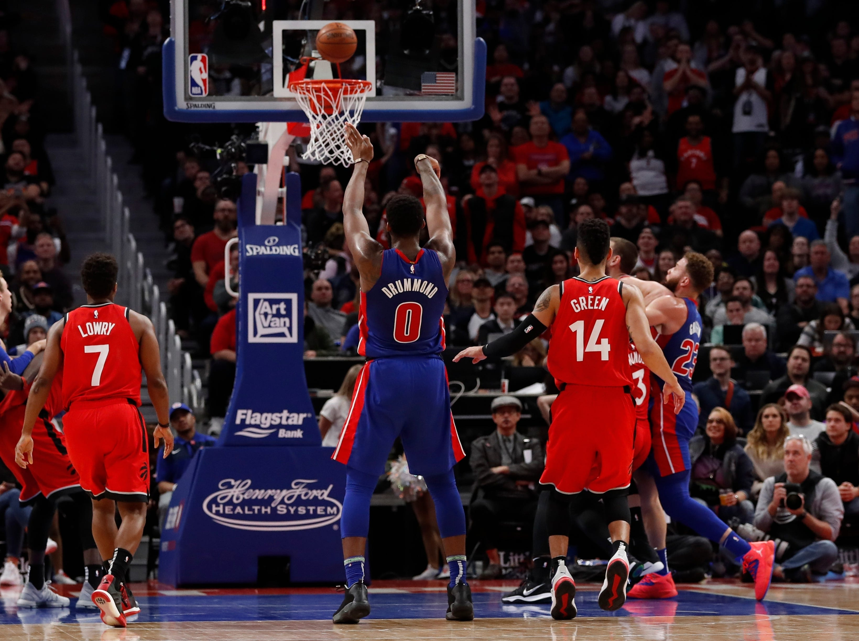 Detroit Pistons center Andre Drummond (0) shoots a free throw during the second half.