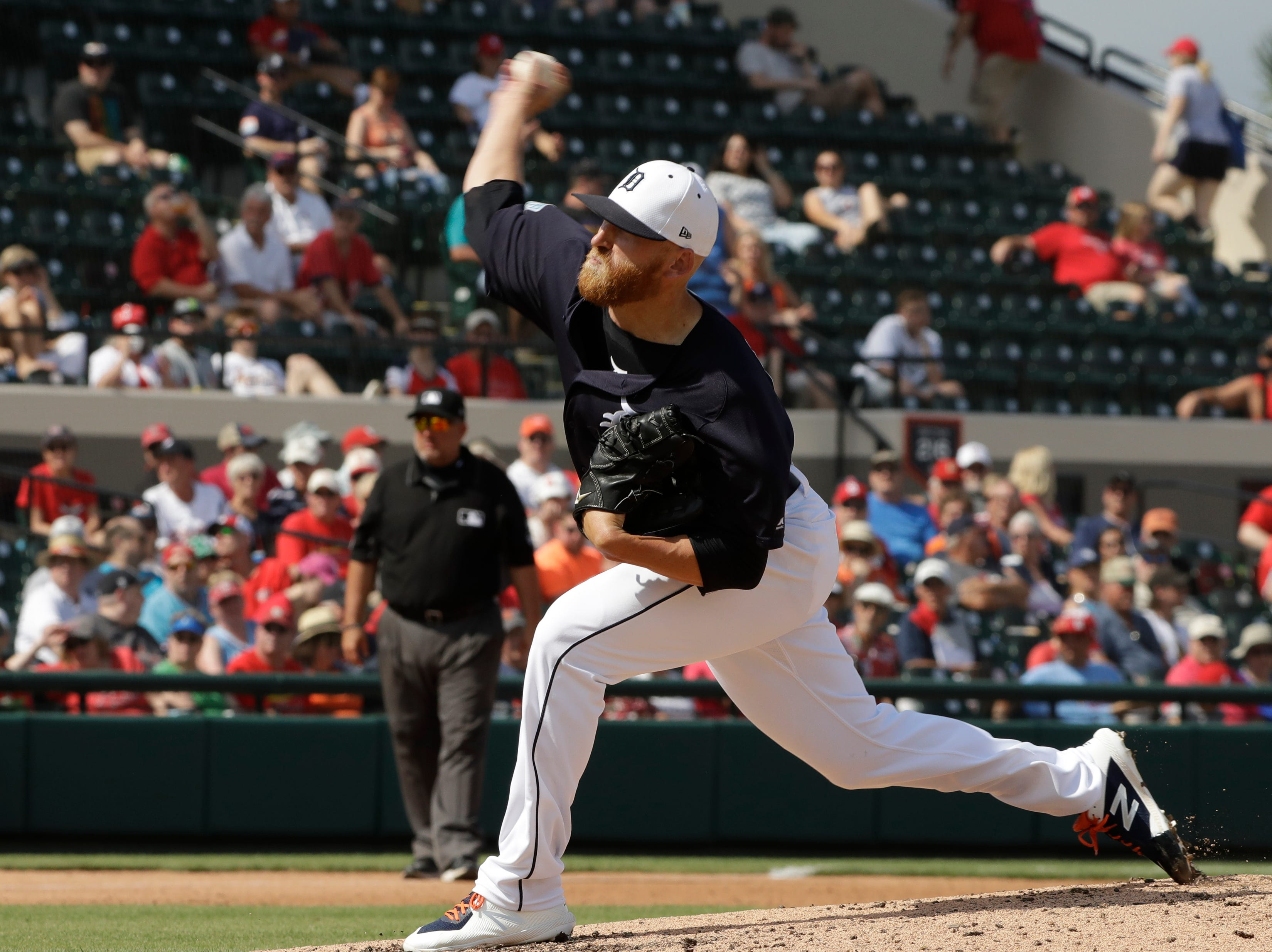 Detroit Tigers relief pitcher Reed Garrett during the fifth inning.