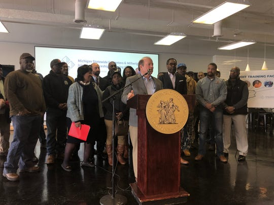 Detroit Mayor Mike Duggan was joined Monday by the Michigan Regional Council of Carpenters and Millwrights, Council President Brenda Jones and others to announce a $30 million skilled trades training facility that's coming to the city's west side.