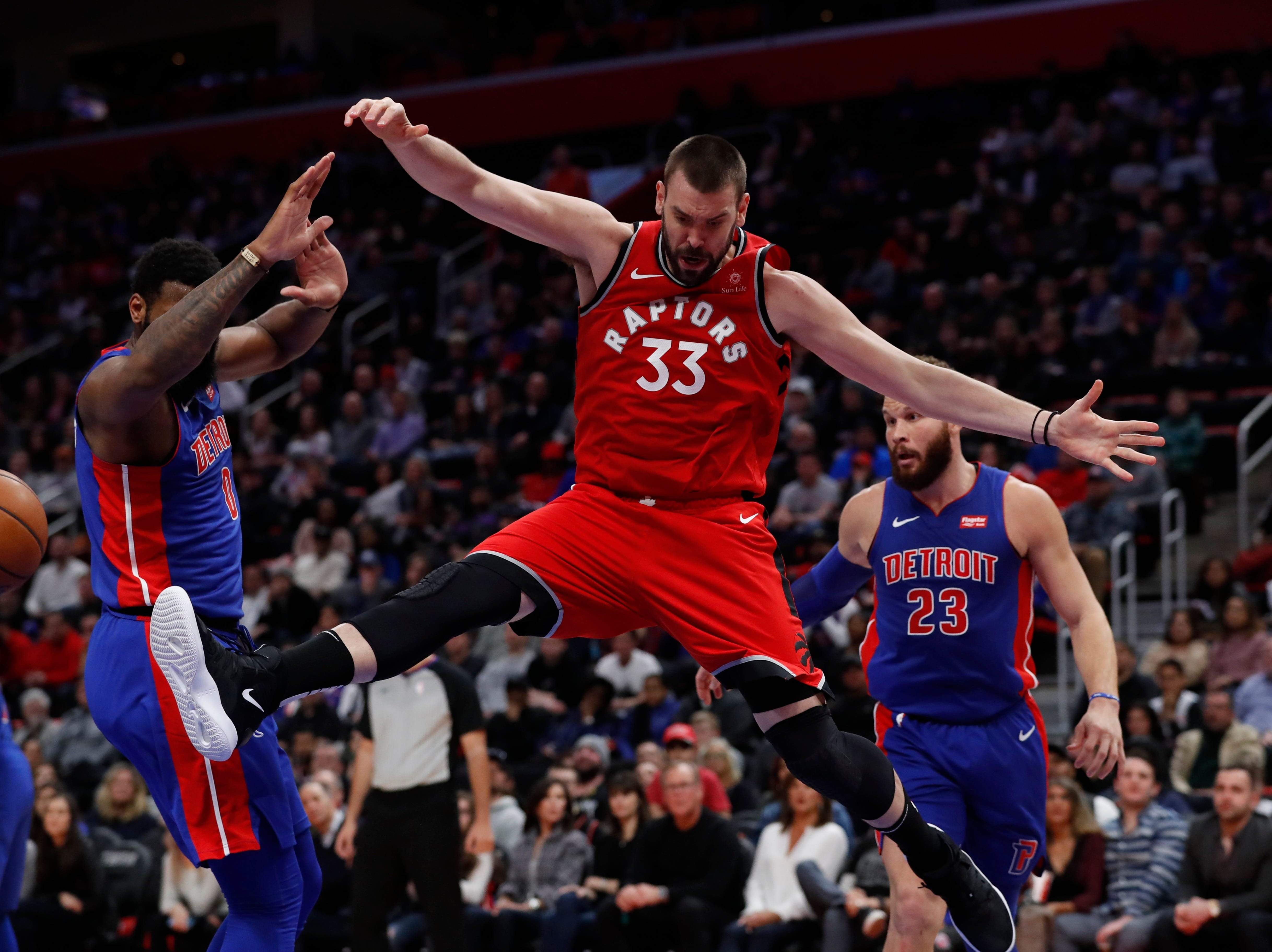 Toronto Raptors center Marc Gasol (33) loses control of the ball during the second half.