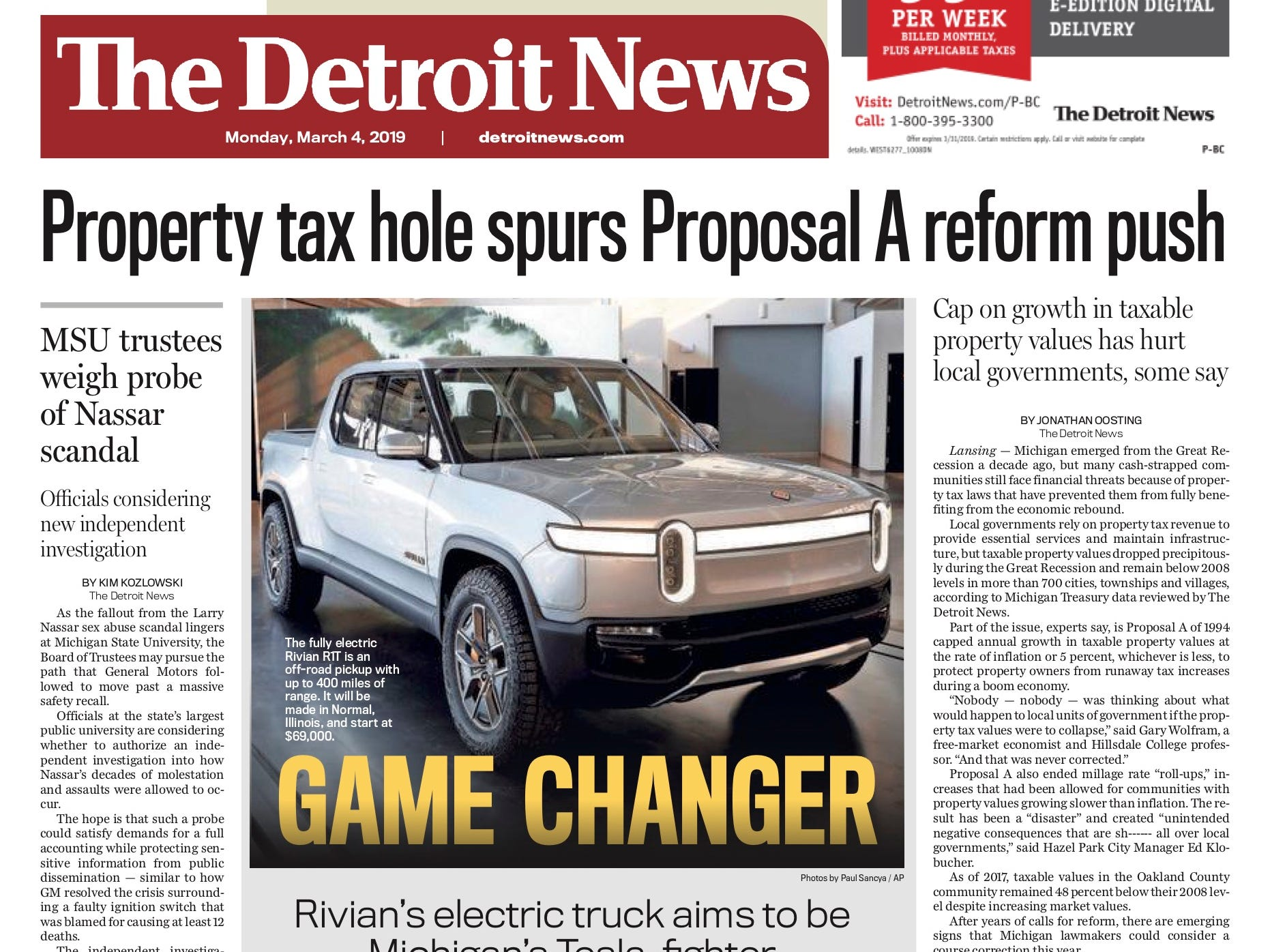 The front page of the Detroit News on March 4, 2019