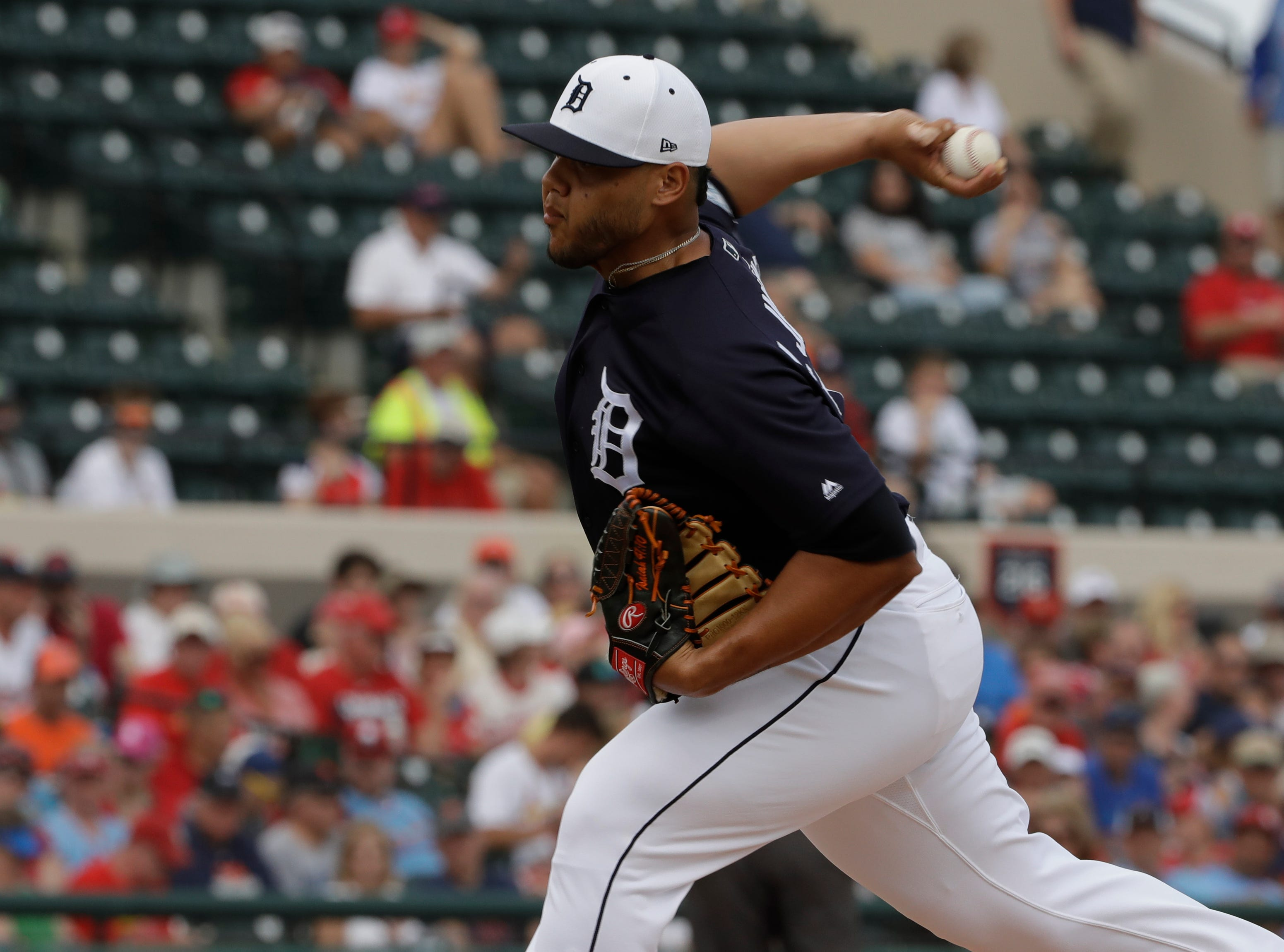 Detroit Tigers relief pitcher Joe Jimenez pitches during the fourth inning.