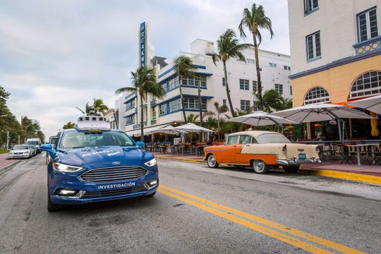 Ford Motor Co. and its partner Argo AI spent a day in December showing how their self-driving vehicle navigates unpredictable downtown Miami streets in autonomous mode.