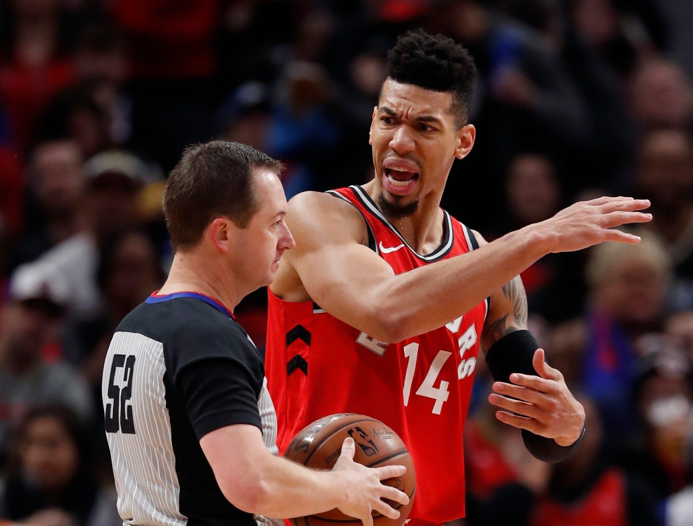 Toronto Raptors guard Danny Green (14) argues a technical with referee Scott Twardoski (52) during the second half.