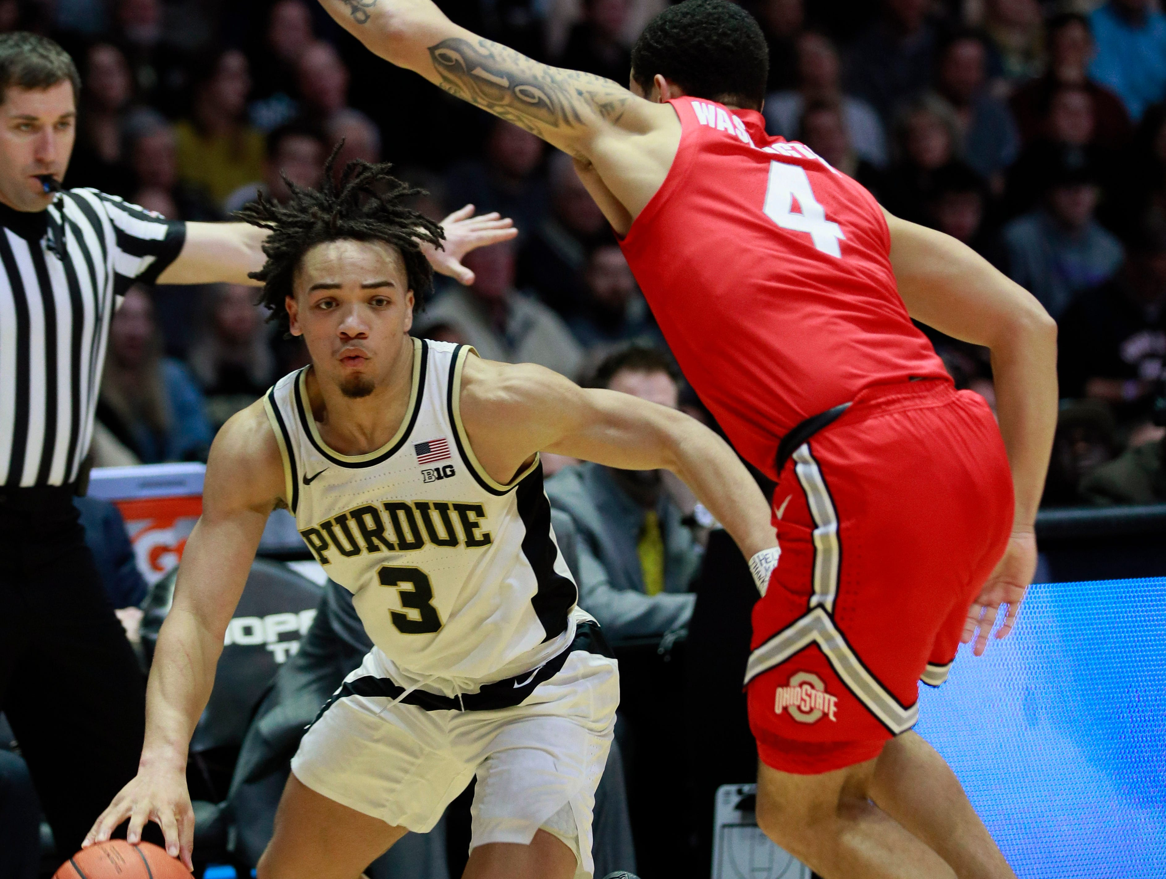 1. Purdue (22-7, 15-3) – The Boilermakers already had the easiest road among the contenders to the Big Ten title and now they're in the driver's seat after Michigan State's loss at Indiana. The Boilermakers have won five straight and hit the road for the final two games at Minnesota and Northwestern. Avoid an upset and Matt Painter and his crew will be outright regular-season champs, something few would have predicted before the season. Last week: 3