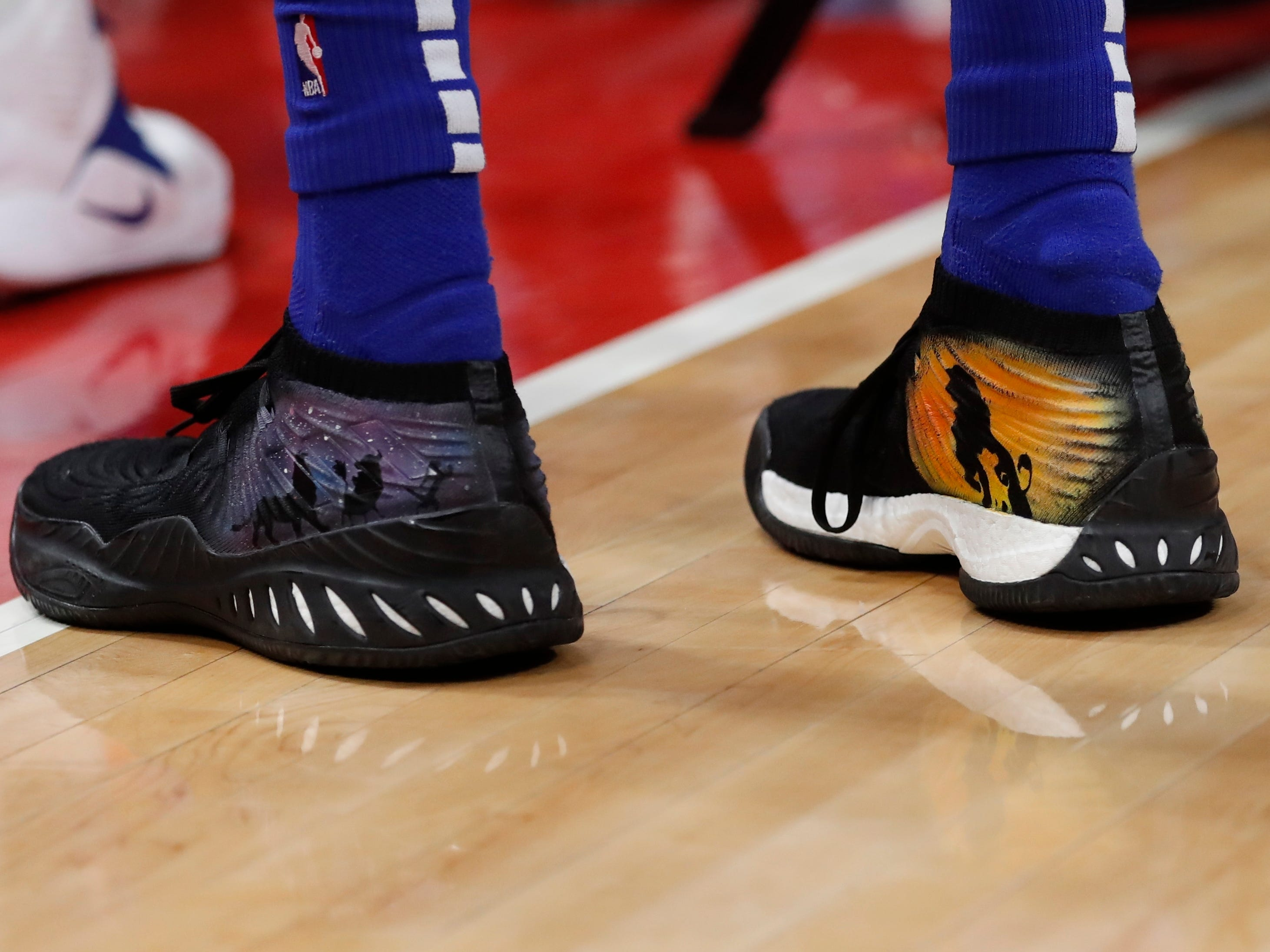 Closeup of Detroit Pistons forward Thon Maker's shoes during the second half.